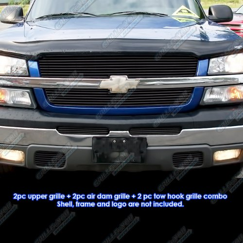amazon 03 05 chevy silverado 1500 03 04 2500 black billet Silverado 18X10 amazon 03 05 chevy silverado 1500 03 04 2500 black billet grille grill bo insert automotive