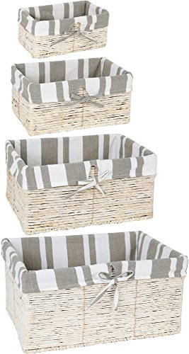 4 Piece Wicker Basket Set Nesting Baskets - Lined Wicker Storage Containers for Home Organization (White Wicker Storage Basket)