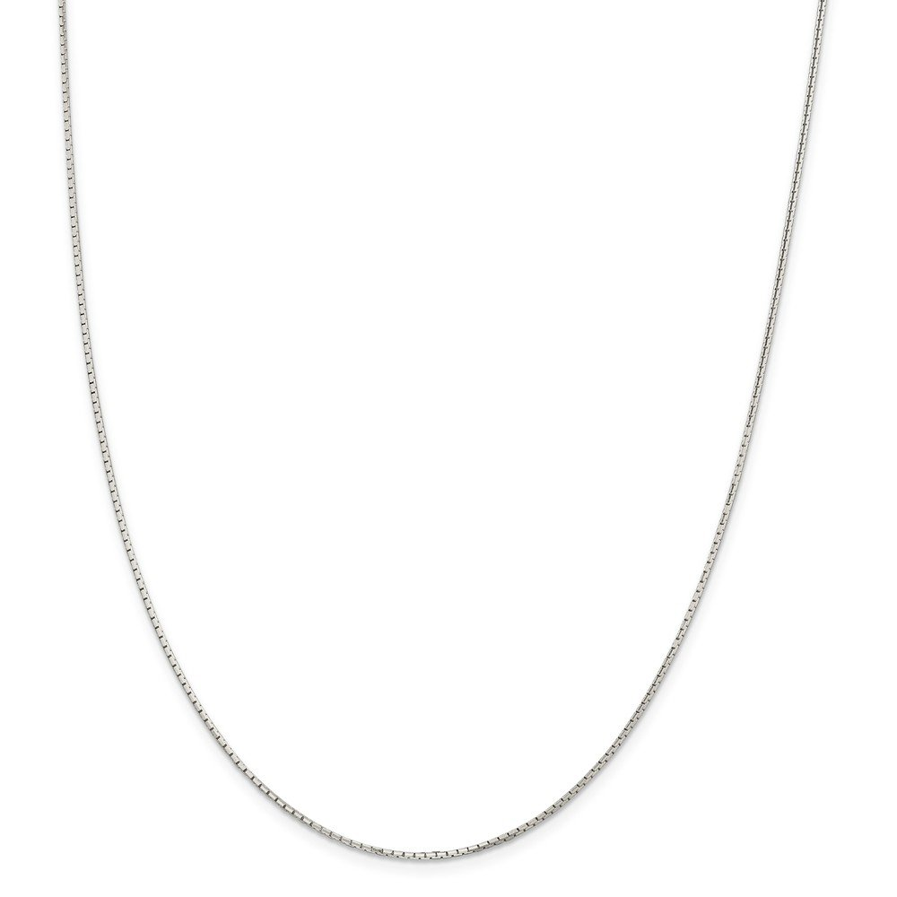 24 Length 925 Sterling Silver 1.2mm 8 Sided Mirror Box Chain Necklace