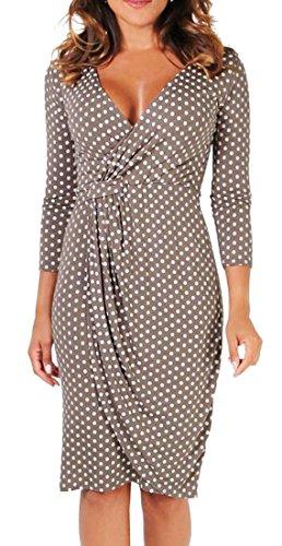 ARTFFEL Womens Polka Dot Print Wrap 3/4 Sleeve Bodycon Wear To Work Dress Coffee XL