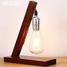 Injuicy Lighting Vintage Retro Industrial Edison Bulb E27 Led Table Lamp Wooden Base Table Lamps with Incandescent Bulb for Bedroom Living Room Wood 110V