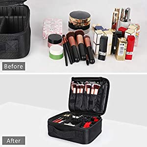 Kootek Travel Makeup Bag Portable Cosmetic Organizer Train Case with Adjustable Dividers for Cosmetics Makeup Brushes Toiletry Jewelry Digital Accessories (Color: Black)