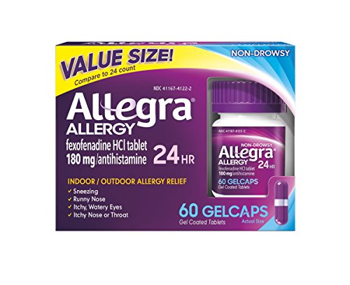 - Allegra Allergy 24 Hour Gelcaps 180 mg 60 Count Long-Lasting Fast-Acting Antihistamine for Noticeable Relief from Indoor and Outdoor Allergy Symptoms