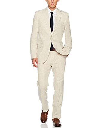 0467e2cdb27b Jingmo Men's 2 Pieces Linen Two Button Slim Fit Suit Seersucker Formal  Tuxedos Blazer Bridegroom Suits (Jacket+Pants) at Amazon Men's Clothing  store: