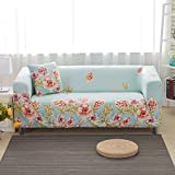 Elastic Anti Wrinkle Couch Covers , Sofa Slipcover For 4 Seater Sofa Soft Lightweight Slip Resistant Sofa Furniture Protector Cover Fit Many Popular Sofas (Noble flowers ,Blue)By lifeng80