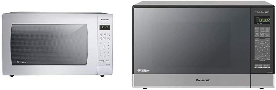 Panasonic NN-SN936W Countertop Microwave, White & Microwave Oven NN-SN686S Stainless Steel Countertop/Built-In with Inverter Technology and Genius Sensor, 1.2 Cubic Foot, 1200W