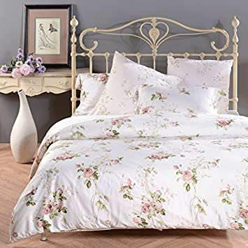 Sisbay Romantic Rose Print Duvet Cover Vintage Tencel Floral Bedding Chic  Girls Bed Set. Amazon com  Sisbay Romantic Rose Print Duvet Cover Vintage Tencel
