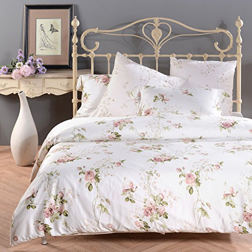 Amazon.com: Sisbay Romantic Rose Print Duvet Cover,Vintage Tencel Floral  Bedding,Chic Girls Bed Set Queen King,4pcs: Home U0026 Kitchen