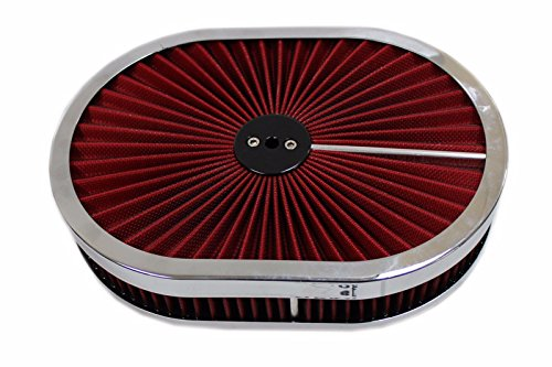 """12"""" Oval Washable Super Flow Air Cleaner Chrome / Red Filter Lid Extreme 350 302"""