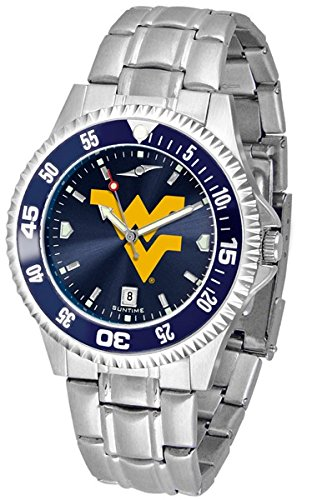 Competitor Steel Anochrome Watch - West Virginia Mountaineers Competitor Steel AnoChrome Color Bezel Men's Watch