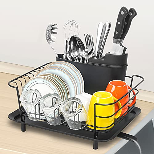 Dish Drying Rack, Totofac Rustproof Dish Rack and Drainboard Set, Dish Drainer with Removable Utensil Cup Holder for Drying Rack Kitchen (Black)