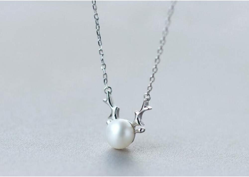 FyaWTM Collar Colgante Plata de Ley 925 Perla cultivada de Agua Dulce con Cuerno de Ciervo Cuerno Collar Colgante de Plata esterlina Regalo de joyería