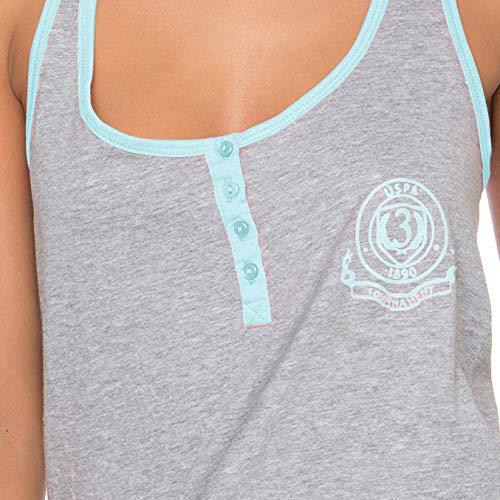 U.S. Polo Assn. Womens Pajama Sets Racerback Tank and Shorts Sleepwear PJs Set Heather Gray/Mint Heather Medium