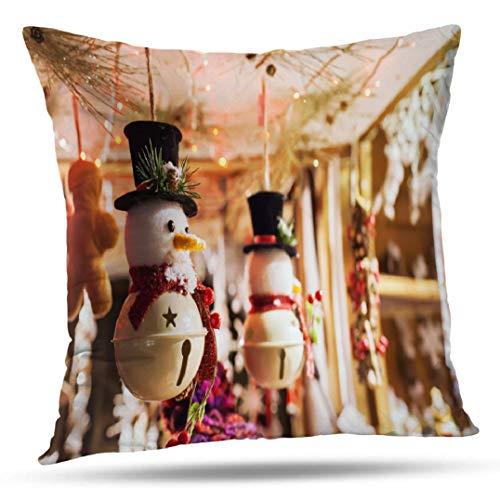 Kutita Paris Decorative Pillow Covers, Snowman Toy Christmas Market Paris Holiday France Throw Pillow Decor Bedroom Livingroom Sofa 18X18 inch