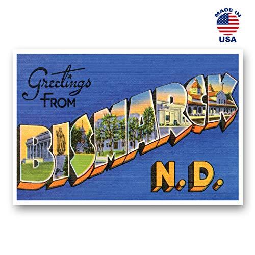 (GREETINGS FROM BISMARCK, ND vintage reprint postcard set of 20 identical postcards. Large Letter Bismarck, North Dakota city name post card pack (ca. 1930's-1940's). Made in USA. )