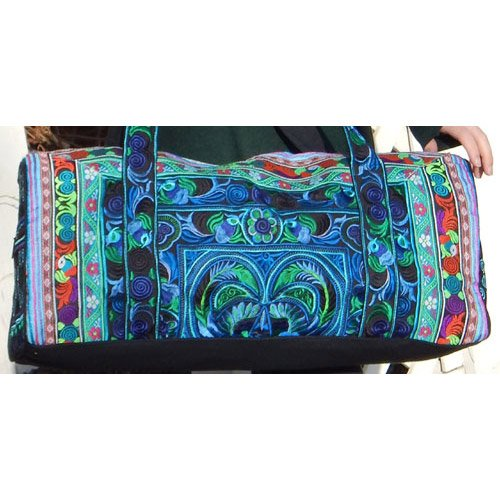 Medium Hand-Made Embroidered Duffle Tote Bag for Knitting or Travel by Plymouth Yarn Company - AQUA