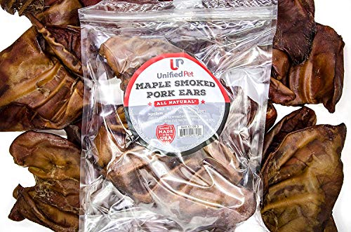 Unified Pet All Natural Premium Thick Cut Pig Ears Treats for Dogs - American Made - Maple Smoked Pork Chew Healthy for Clean Teeth (6 Pack)