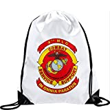 Large Drawstring Bag with US 4th Marine Logistics Group (4th MLG) - Long lasting vibrant image