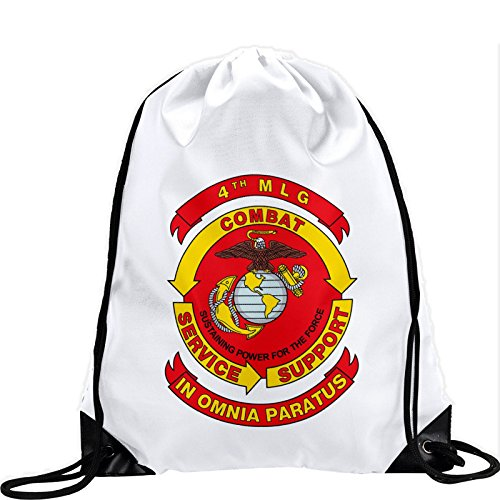Large Drawstring Bag with US 4th Marine Logistics Group (4th MLG) - Long lasting vibrant image by ExpressItBest