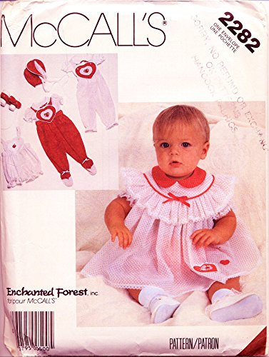 McCall's 2282 Vintage Sewing Pattern, Enchanted Forest - Infants' Blouse, Jumpsuit, Dress, Panties and Bonnet Infant Size NB, Small, Medium