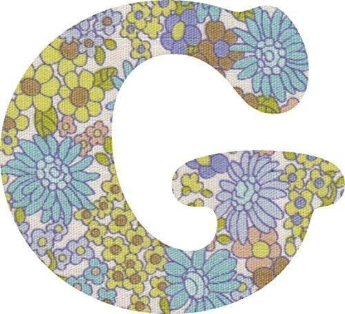 花柄 生地 パープル アルファベット G アップリケ アイロン接着可能 大文字 coop