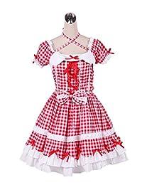 antaina Red Plaid Cotton Ruffle Bow Puff Sweet Victorian Lolita Cosplay Dress