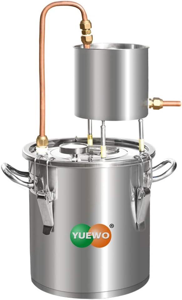 YUEWO Moonshine Still Alembic Spirits Kit Caldera de vinificación con Bomba de termómetro destilador de Aceite Esencial de Alcohol para Whisky Brandy Vodka 304 Acero Inoxidable (20L)