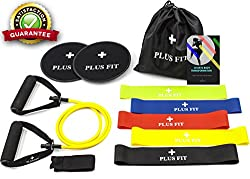 PlusFit BEST Home/Gym Workout Equipment (Gliding Discs Core Sliders, Resistance Loop Bands, Resistance Band Tube & 30 Days Body Transformation and Nutrition Guide Online) Sliders and Resistance Bands