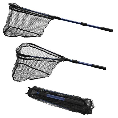 SF Foldable Fishing Landing Net with Collapsible Telescopic Aluminum Pole Handle,Durable Mesh with Rubber Coating # Blue