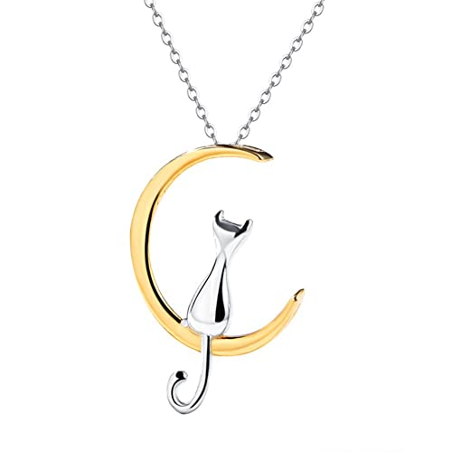 JewelryLove 925 Sterling Silver Cat On The Moon Necklace Pendants Chain For Gift (Gold)