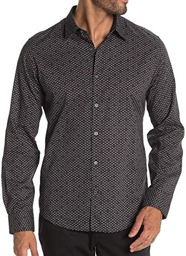 John Varvatos Star USA Men`s Long Sleeve Skull and Crossbones Patterned Shirt