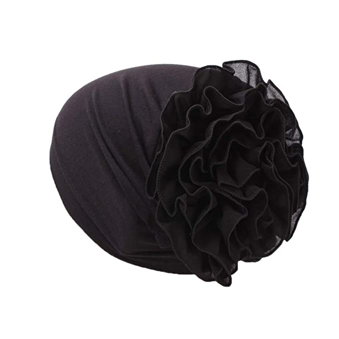 3b34032572b Tootu Home Clothing Muslim Hat Women Flower Ruffle Cancer Chemo Beanie  Scarf Turban Head Wrap Cap Black: Amazon.ca: Clothing & Accessories