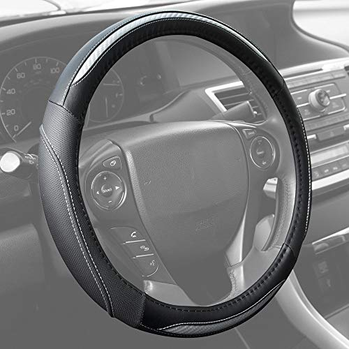 (BDK UltraSport Series Steering Wheel Cover - Synthetic Leather Perforated with Carbon Fiber Design & Stitching (Silver Chrome))