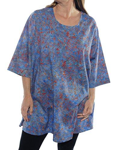 WeBeBop Womens Plus Size Java Delight Blue Swing Top -Cotton