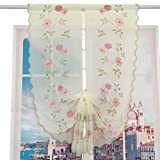 ZHH Pastoral Roses Embroidered Curtain Tie-Up Scalloped Balloon Shades 32 by 55-Inch,Pink Plant Flower