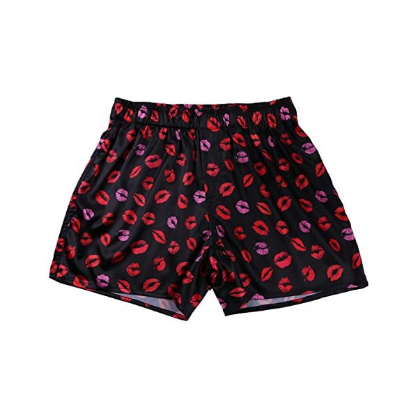 YiZYiF Men's Silk Lips Print Frilly Shiny Satin Boxer Shorts Lounge Underwear