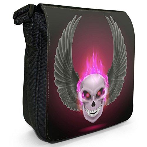 Small Skulls Pink Black Fire Flaming Shoulder Size Bag Canvas q5BEBwnOx