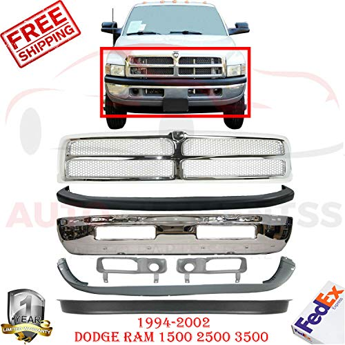New Front Bumper Chrome For 1994-2002 Dodge Ram 1500 2500 3500 ST Standard Cab Pickup Lower & Upper Cover Textured + Grill + Sight Shield Left Hand & Right Hand Side Direct Replacement Set of 7