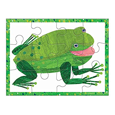 """Mudpuppy World of Eric Carle Brown Bear 4-in-A-Box Puzzles, Ages 2-5, Each Measures 6""""x8 - Chunky Puzzles with 4, 6, 9 and 12 Pieces Featuring Popular Animals - Difficulty Level Grows with Child: Toys & Games"""