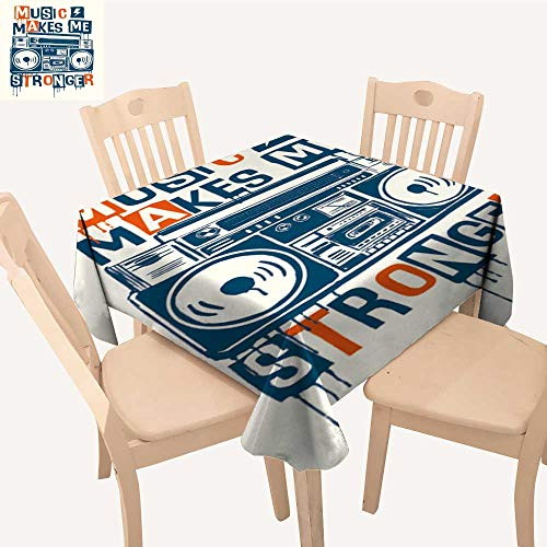 UHOO2018 Square/Rectangle Indoor and Outdoor Tablecloth musi Makes me Stronger slog Graphi Cassette plaayer Restaurant Party,50x 50inch -