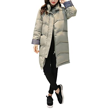 ab1894336384d Luluka Women s Trench Coat Winter Plus Size Long Quilted Overcoat Down  Jacket US 4-6