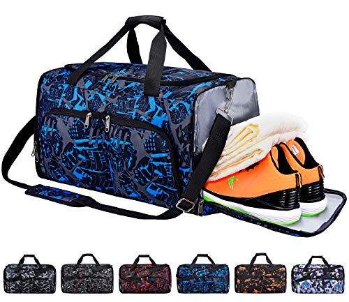 FANCYOUT Sports Gym Bag with Shoes Compartment & Wet Pocket, Travel Duffel Bag for Men and Women (Cam Blue)
