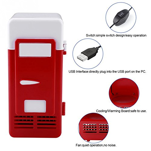 ERTIANANG LED Mini USB Refrigerator USB Refrigerator Drinks Beverage Cans Refrigerator and Heater for car office or home by ERTIANANG (Image #4)