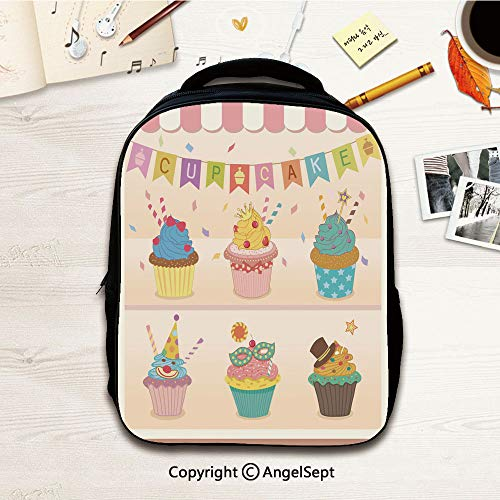 Kindergarten Preschool Bags,cupcakes party pink,12.2
