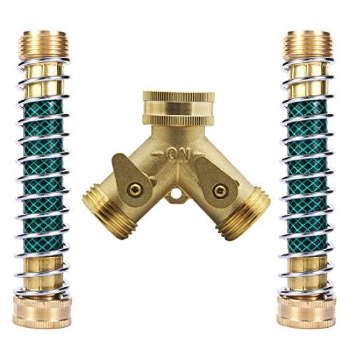 Hanobo Heavy Duty Brass 2 Way Garden Hose Connector with 2Pcs Garden Hose Coiled Spring ()