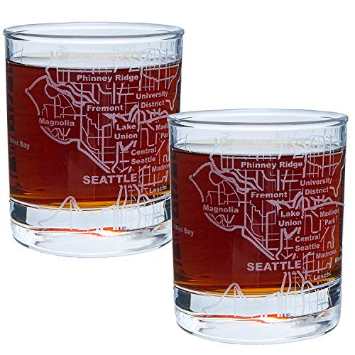 (Greenline Goods Whiskey Glasses - 10 Oz Tumbler Gift Set for Seattle lovers, Etched with Seattle Map | Old Fashioned Rocks Glass - Set of 2)