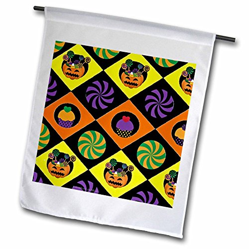 3dRose Lee Hiller Designs Holidays Halloween - Halloween Colorful Jack o Lanterns Candy Cupcakes - 12 x 18 inch Garden Flag (fl_44440_1) ()