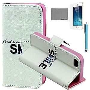 ZMY patrón sonrisa brillante caja de cuero de la PU con el protector de pantalla y el stylus para el iphone 5 / 5s