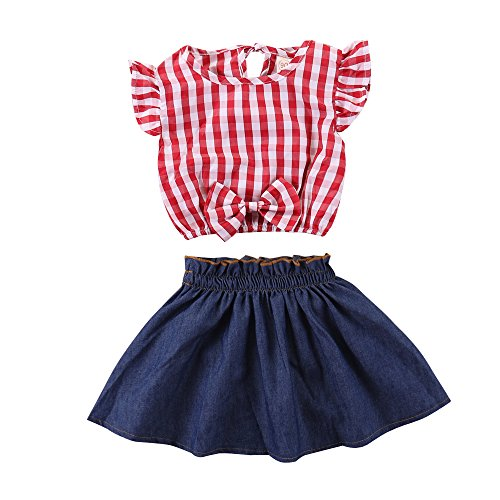 Toddler Baby Girl Red Plaid Outfits Ruffled Sleeve Crop Top Shirts with Bowknot+Denim Skirt Dress Summer Clothes Set (Plaid, 5-6 Years)