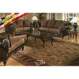 Roundhill Furniture San Marino 2-Tone Fabric Sofa & Loveseat, Chocolate